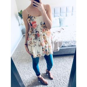 Romantic Flowy Floral Tiered Tank